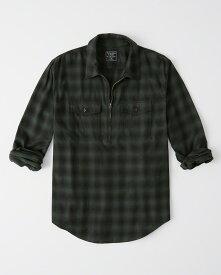 Abercrombie&Fitch (アバクロンビー&フィッチ) ストレッチ ハーフジップ チェックシャツ(長袖)(Half-Zip Shirt) メンズ (Green Plaid) 新品