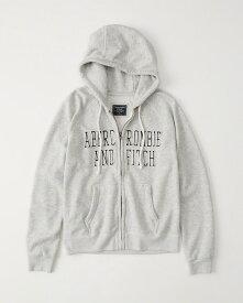 【新品】アバクロ【Womens】アップリケフルジップパーカー(フーディー)/Heather Grey【Logo Full-Zip Hoodie】【Abercrombie&Fitch】【本物保証】【レディース】