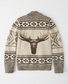 Abercrombie&Fitch (アバクロンビー&フィッチ) 裏ボア フルジップ カウチンセーター (Heritage Sherpa Full-Zip Cardigan) メンズ (Tan) 新品
