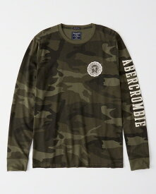 Abercrombie&Fitch (アバクロンビー&フィッチ) アップリケ 長袖Tシャツ (ロンT) (Long-Sleeve Applique Tee) メンズ (Green Camo) 新品