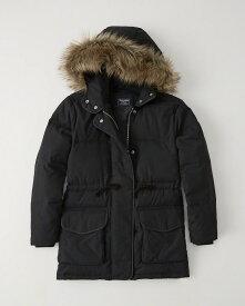 Abercrombie&Fitch (アバクロンビー&フィッチ) 正規品 フェイクファー フード付きダウンジャケット (Faux Fur Hooded Puffer) レディース (Black) 新品