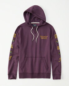 Abercrombie&Fitch (アバクロンビー&フィッチ) ロゴプルオーバー パーカー(フーディー) (Skull Logo Hoodie) メンズ (Dark Purple) 新品