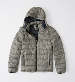 Abercrombie&Fitch (アバクロンビー&フィッチ) USAモデル 取り外し可能フード パッカブルパファージャケット (Removable Hood Packable Puffer) メンズ (Grey) 新品 日本未発売