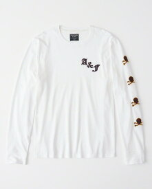 Abercrombie&Fitch (アバクロンビー&フィッチ) 袖アップリケ付き 長袖Tシャツ (ロンT) (Long-Sleeve Applique Rugby Tee) メンズ (White) 新品