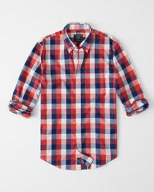 Abercrombie&Fitch (アバクロンビー&フィッチ) ストレッチ ボタンダウン チェックシャツ(長袖)(Check Poplin Shirt) メンズ (Red And Navy Blue Plaid) 新品 日本未発売