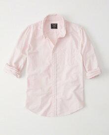 Abercrombie&Fitch (アバクロンビー&フィッチ) ムース刺繍入り オックスフォードシャツ(長袖)(Icon Oxford Shirt) メンズ (Pink) 新品