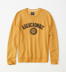 Abercrombie&Fitch 正規品 (アバクロンビー&フィッチ) ロゴアップリケスエット (Logo Crewneck Sweatshirt) メンズ (Gold) 新品