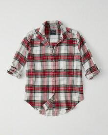 Abercrombie&Fitch (アバクロンビー&フィッチ) 正規品 Moose刺繍チェックフランネルシャツ (長袖) (Flannel Shirt) レディース (White And Red Plaid) 新品