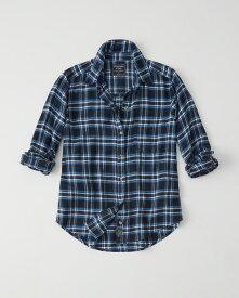 Abercrombie&Fitch (アバクロンビー&フィッチ) 正規品 Moose刺繍チェックフランネルシャツ (長袖) (Flannel Shirt) レディース (Navy Plaid) 新品