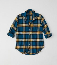 Abercrombie&Fitch (アバクロンビー&フィッチ) 正規品 Moose刺繍 チェックフランネルシャツ (長袖) (Flannel Shirt) レディース (Blue Plaid) 新品