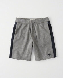 Abercrombie&Fitch (アバクロンビー&フィッチ) ロゴ 刺繍 スエット ショーツ (Logo Fleece Shorts) メンズ (Heather Grey) 新品