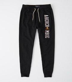 Abercrombie&Fitch (アバクロンビー&フィッチ) アップリケ ロゴジョガー スエットパンツ (Applique Logo Joggers) メンズ (Black) 新品