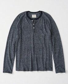 Abercrombie&Fitch 正規品 (アバクロンビー&フィッチ) Moose刺繍 ヘンリーネック Tシャツ (長袖) (ロンT) (Twofer Henley) メンズ (Heather Navy) 新品