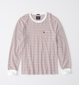 Abercrombie&Fitch (アバクロンビー&フィッチ) ムース刺繍 ポケット付き 長袖Tシャツ (ロンT) (Long-Sleeve Striped Icon Tee) メンズ (White and Red And Navy Stripe) 新品