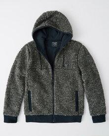 Abercrombie&Fitch (アバクロンビー&フィッチ) フード付き フルジップ フリースジャケット (Full-Zip Sherpa Jacket) メンズ (Grey) 新品
