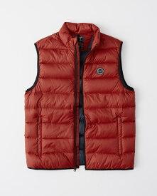 Abercrombie&Fitch (アバクロンビー&フィッチ) ライトウエイト パッカブル パファー ベスト (ダウンベスト) (Lightweight Packable Puffer Vest) メンズ (Red) 新品