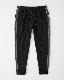 Abercrombie&Fitch (アバクロンビー&フィッチ) サイドストライプジョガーパンツ (スエットパンツ) (Side-Stripe Joggers) メンズ (Black) 新品