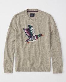 Abercrombie&Fitch (アバクロンビー&フィッチ) ジャガード グラフィックセーター (Graphic Sweater) メンズ (Oatmeal) 新品