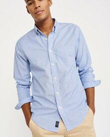 Abercrombie&Fitch (アバクロンビー&フィッチ) ストレッチ ボタンダウンシャツ(長袖)(Poplin Shirt) メンズ (Blue) 新品