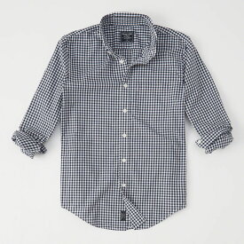 Abercrombie&Fitch (アバクロンビー&フィッチ) ストレッチ ボタンダウン チェック シャツ(長袖)(Poplin Shirt) メンズ (Navy Check) 新品