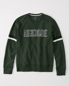 Abercrombie&Fitch 正規品 (アバクロンビー&フィッチ) ロゴアップリケスエット (Logo Crewneck Sweatshirt) メンズ (Green) 新品