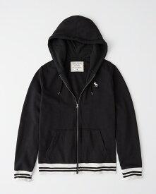 Abercrombie&Fitch (アバクロンビー&フィッチ) ムース刺繍 フルジップ パーカー(フーディー) (Tipped Icon Full-Zip Hoodie) メンズ (Black) 新品