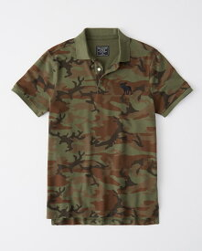 Abercrombie&Fitch (アバクロンビー&フィッチ) 正規品 ストレッチ 鹿の子半袖ポロシャツ (Strech Icon Polo) メンズ (Olive Green Camo) 新品
