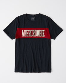 Abercrombie&Fitch 正規品 (アバクロンビー&フィッチ) アップリケ ロゴ カラー ブロック Tシャツ (Applique Colorblock Logo Tee) メンズ (Navy Blue And Red) 新品