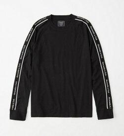 Abercrombie&Fitch 正規品 (アバクロンビー&フィッチ) ロゴテープ 長袖Tシャツ (ロンT) (Long-Sleeve Logo Tape Tee) メンズ (Black) 新品