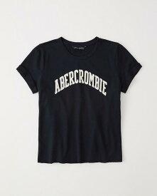 Abercrombie&Fitch 正規品 (アバクロンビー&フィッチ) レディース アップリケ Tシャツ (Short-Sleeve Logo Tee) (Navy Blue) 新品