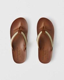 【新品】アバクロ【Mensメンズ】ヴィンテージレザーサンダル/Brown【Leather Flip Flops】【Abercrombie&Fitch】【本物保証】