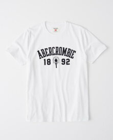 Abercrombie&Fitch 正規品 (アバクロンビー&フィッチ) ロゴ アップリケ グラフィック Tシャツ (Applique Logo Tee) メンズ (White) 新品