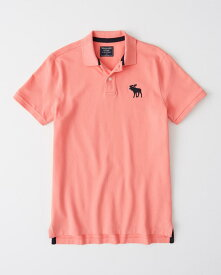 Abercrombie&Fitch (アバクロンビー&フィッチ) 正規品 ストレッチ 鹿の子半袖ポロシャツ (Exploded Icon Polo) メンズ (Salomon Pink) 新品