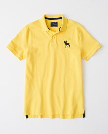 Abercrombie&Fitch (アバクロンビー&フィッチ) 正規品 ストレッチ 鹿の子半袖ポロシャツ (Exploded Icon Stretch Polo) メンズ (Yellow) 新品