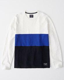 Abercrombie&Fitch (アバクロンビー&フィッチ) カラーブロック スエットシャツ (ロンT) (Color Block Sweatshirts) メンズ (White Blue Navy) 新品