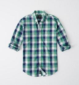 Abercrombie&Fitch (アバクロンビー&フィッチ) ストレッチ ボタンダウン チェックシャツ (長袖)(Check Poplin Shirt) メンズ (Green And Navy Blue Plaid) 新品