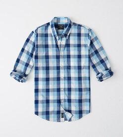 Abercrombie&Fitch (アバクロンビー&フィッチ) ストレッチ ボタンダウン チェックシャツ(長袖)(Check Poplin Shirt) メンズ (Light Blue And Navy Blue Plaid) 新品 日本未発売