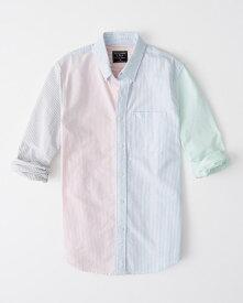 Abercrombie&Fitch (アバクロンビー&フィッチ) ムース刺繍 クレイジーパターン ストライプ オックスフォードシャツ(長袖)(Stripe Oxford Shirt) メンズ (Multi Color) 新品