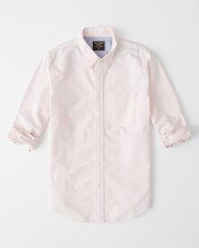 Abercrombie&Fitch (アバクロンビー&フィッチ) ムース刺繍 オックスフォードシャツ(長袖)(Tonal Icon Oxford Shirt) メンズ (Light Pink) 新品
