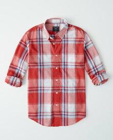 Abercrombie&Fitch (アバクロンビー&フィッチ) ストレッチ ボタンダウン チェックシャツ(長袖)(Check Poplin Shirt) メンズ (Red Plaid) 新品 日本未発売