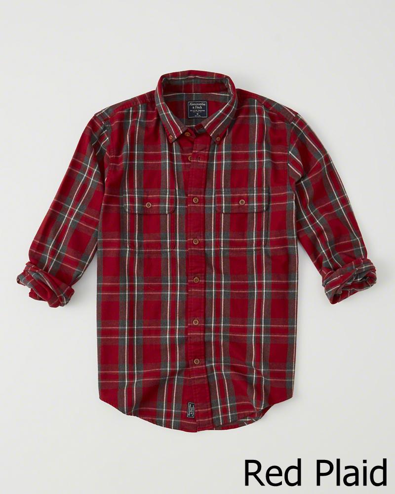 【新品】アバクロ【Mensメンズ】フランネルチェックシャツ(ネルシャツ)/Red Plaid【Flannel Shirt】【Abercrombie&Fitch】【本物保証】