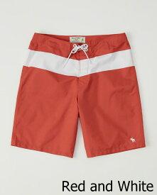 Abercrombie&Fitch (アバクロンビー&フィッチ) クラシック ボードショーツ (水着) (Classic Boardshort) メンズ (Red and White) 新品