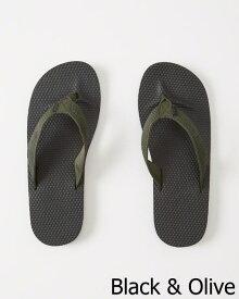 ◆【新品】アバクロ【Mensメンズ】MIX素材 ラバービーチサンダル/Black And Olive【Mixed Media Rubber Flip Flops】【Abercrombie&Fitch】【本物保証】