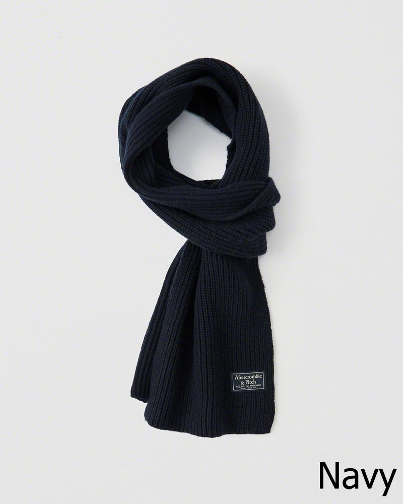 ◆【新品】アバクロ【Mens】ニットマフラー/Navy【Knit Scarf】【Abercrombie&Fitch】【本物保証】【レディース】【男女兼用】