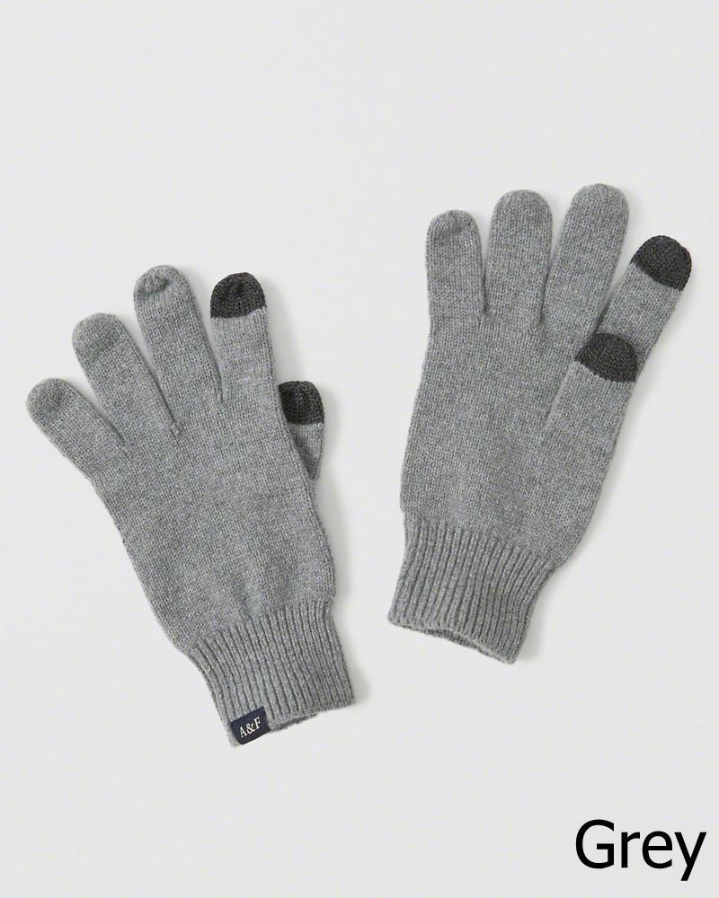 【新品】アバクロ【Mensメンズ】スマートフォン対応ニットグローブ/Grey【Knit Tech Gloves】【Abercrombie&Fitch】【本物保証】