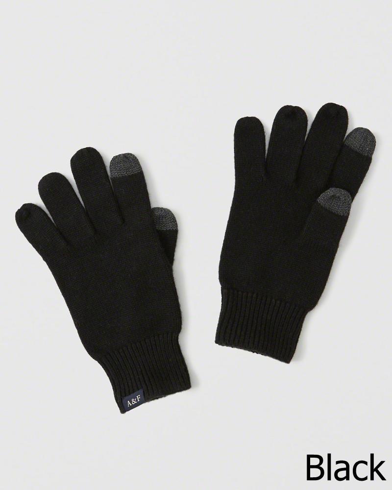 【新品】アバクロ【Mensメンズ】スマートフォン対応ニットグローブ/Black【Knit Tech Gloves】【Abercrombie&Fitch】【本物保証】