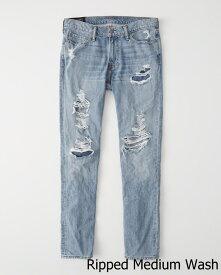 ◆【新品】アバクロ【Mensメンズ】スリムストレート/Ripped Medium Wash【Color:285】【Langdon Ripped Slim Jeans】【デニム】【Abercrombie&Fitch】【本物保証】