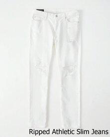 ◆【新品】アバクロ【Mensメンズ】スリムストレートジーンズ/Ripped White Wash【Color:177】【Ripped Athletic Slim Jeans】【デニム】【Abercrombie&Fitch】【本物保証】