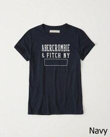Abercrombie&Fitch 正規品 レディース (アバクロンビー&フィッチ) プリント Tシャツ (Destroy Print Grapic Tee) (Navy) 新品