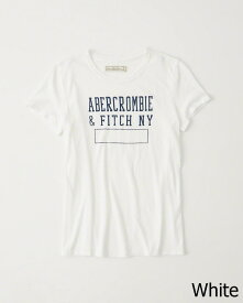 Abercrombie&Fitch 正規品 (アバクロンビー&フィッチ) レディース プリント Tシャツ (Destroy Print Graphic Tee) (White) 新品